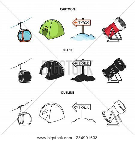 Funicular, Tent, Road Sign, Snow Cannon. Ski Resort Set Collection Icons In Cartoon, Black, Outline