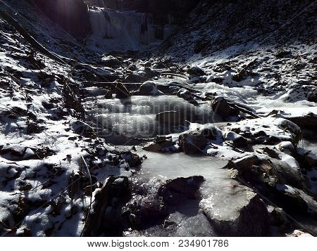 Frozen River In A Forest, Ice - Frozen River In Winter - Big Fatra - Slovakia