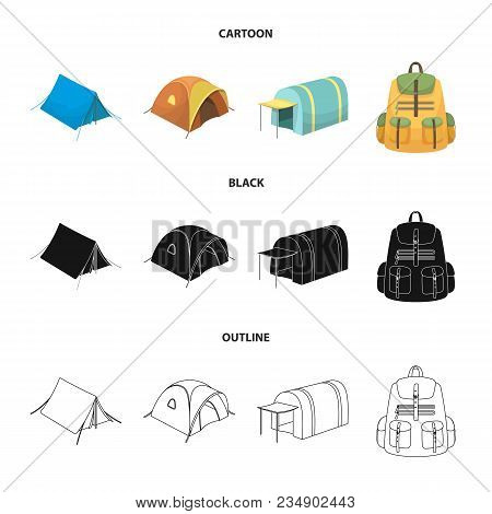 Backpack And Other Kinds Of Tents.tent Set Collection Icons In Cartoon, Black, Outline Style Vector
