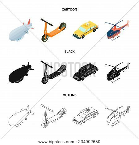 A Dirigible, A Children Scooter, A Taxi, A Helicopter.transport Set Collection Icons In Cartoon, Bla