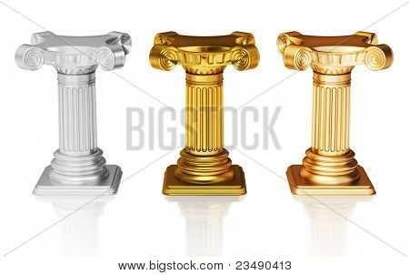 Silver,gold and bronze pedestals
