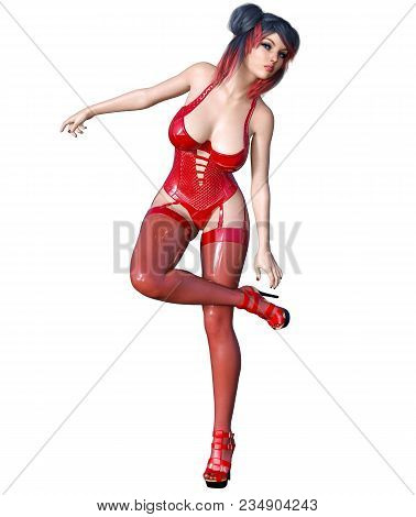 3d Beautiful Sexy Brunette Girl Red Latex Corset Stockings.minimalist Extravagant Clothes Future.wom