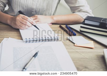 Close Up Of Studying Student Hands Writing In Book During Lecture Education Students College Of Univ