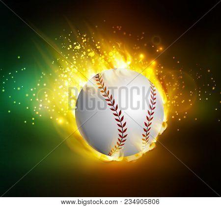 Dirty Baseball Speeding Through The Air On Fire Vector