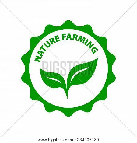 Natural Farming. Round Green Logo Green Leafes. Vegan Vector Icon.