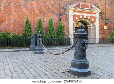 Entrance To Saint Jacob Catholic Church In Old Riga City, Latvia. The Church Is One Of The Famous Ar