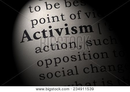 Fake Dictionary, Dictionary Definition Of The Word Activism. Including Key Descriptive Words.