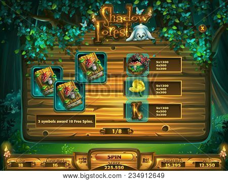 Playing Field Slots Game For Game User Interface. Vector Illustration Screen To The Computer Game Sh
