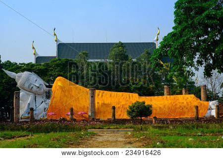 Reclining Old White Buddha In Wat Khunin Temple At Ang Thong Province, Thailand