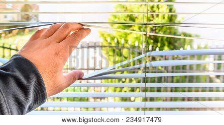 Man Hand Open Jalousie On Pvc Window