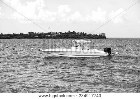 Motorboat Or Boat At Anchor In Sea Or Ocean In Philipsburg, St Maarten At Tropical Beach On Sunny Da
