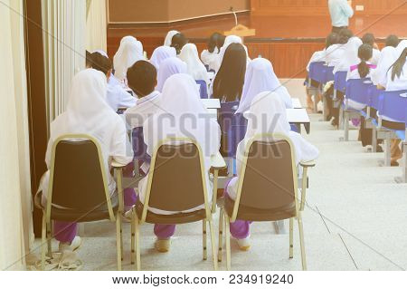 Students  Sit On Chair  Interior Classroom Learning In Education University