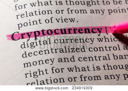 Fake Dictionary, Dictionary Definition Of The Word Cryptocurrency. Including Key Descriptive Words.