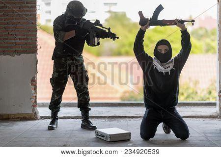 Special Forces Armed Marksmen With Weapon Arresting Separatist Terrorist.law Against Crime.arrest Of
