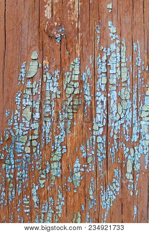 Old Blue Board With Cracked Paint, Vintage Wood Background, Grunge Plank. Old Wooden Background With