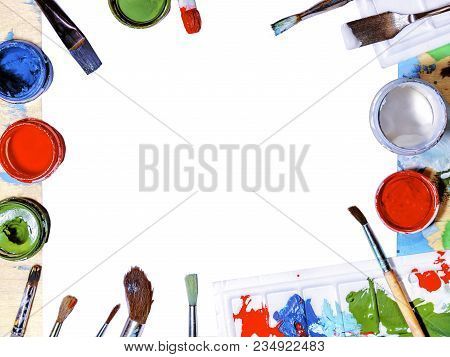 Color Gouache Jars On White Background. Top View, Copy Space