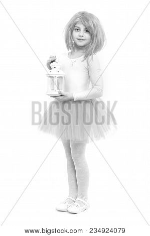 Christmas And Birthday. Child In Wig With Lantern Isolated On White Background. Childhood And Happin