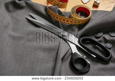 Composition With Fabric And Accessories For Tailoring On Table