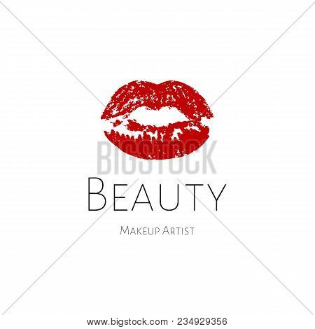 Lips Logo. Red Print Lip, Beauty Logo Template. Logo For Make-up Artist, Beauty Studio, Make Up Stud
