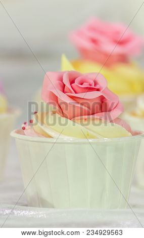 Cupcakes Decoration On Tier At Wedding Reception.