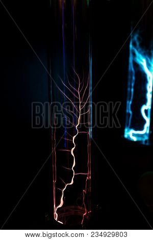 Lightning Flash Discharge Of Electricity On Transparent Background. Electrical Visual Effect.