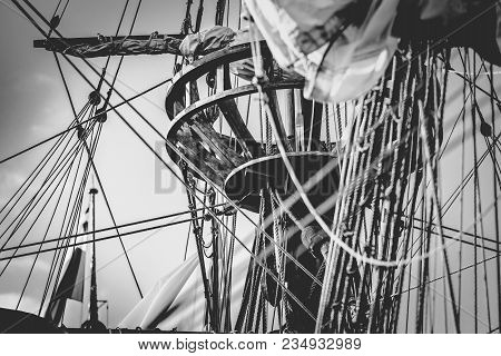 Detail Of Mast Of Ship. Detailed Rigging With Sails. Vintage Sailing Ship Block And Tackle. Handmade