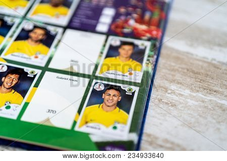 SAO PAULO, BRAZIL - CIRCA MARCH 2018: Panini FIFA World Cup Russia 2018 Official Licensed Sticker Album. (Brazilian Page)