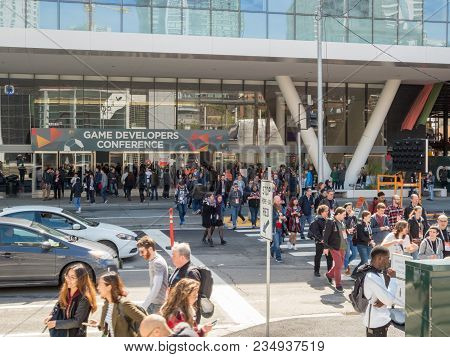 San Francisco, Ca - March 18, 2018: Attendees Stream Out Of The Game Developers Conference Gdc 2018