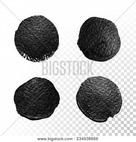 Vector Black Watercolor Glitter Brush Blob Stroke. Abstract Tar Polish Splash Circle. Oil Paint Blot