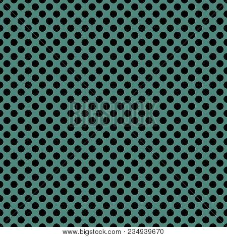 Tile Vector Pattern With Black Polka Dots On Green Background