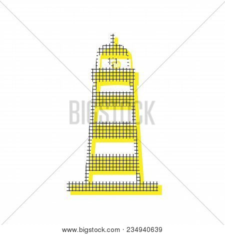 Lighthouse sign illustration. Vector. Yellow icon with square pattern duplicate at white background. Isolated. poster