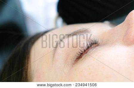Closeup Woman's Lashes After Procedure Of Lash Lamination. Beauty Treatment. Closeup Eye.