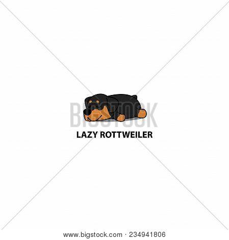 Lazy Dog, Cute Rottweiler Puppy Sleeping Icon, Logo Design, Vector Illustration