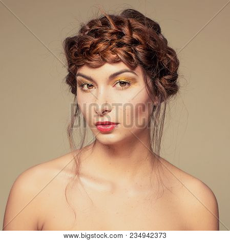 Portrait Extravagant And Extreme Gold Makeup On Cute Girl Face