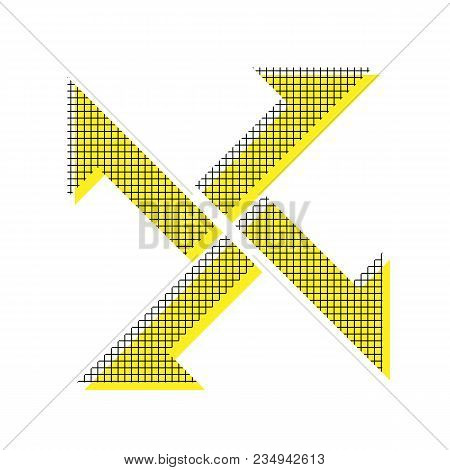 Cross From Arrows Icon. Vector. Yellow Icon With Square Pattern Duplicate At White Background. Isola