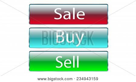 Set Of Three Glass Transparent Beautiful Vector Buttons For Pressing The Sale, Buy, Sell Red, Blue,