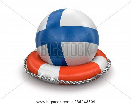 3d Illustration. Ball With Finnish Flag On Lifebuoy. Image With Clipping Path