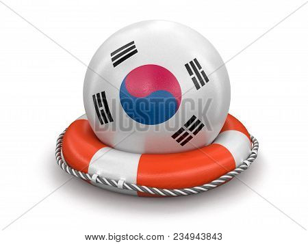 3d Illustration. Ball With South Korean Flag On Lifebuoy. Image With Clipping Path