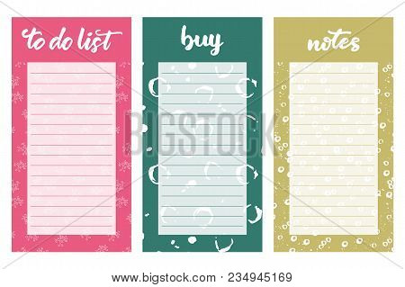 Set Of Templates With To Do List,shopping List And Notes. Vector Illustration.