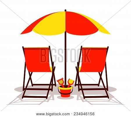 Vector Deck Chairs And Sand Bucket Under Beach Umbrella Isolated On White Background