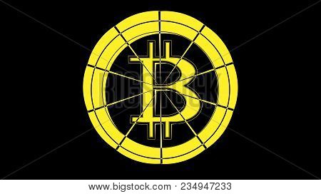 Abstract Simple Yellow Bitcoin Icon With Cracks On A Black Background. The Concept: The Collapse Of