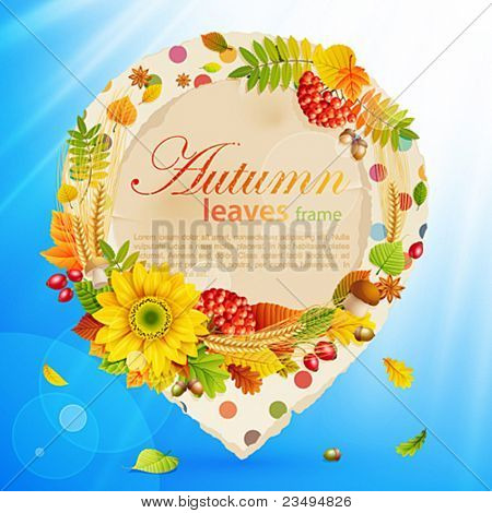 Autumn vintage bubble with colorful leaves and place for text. Vector illustration.