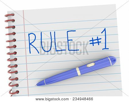 Rule Number 1 Notepad Pen One Follow Top To Do 3d Illustration