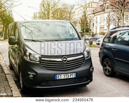 Strasbourg, France - Circa 2018: Front View Of New Opel Vivaro Biturbo Passenger Minivan Car Parked