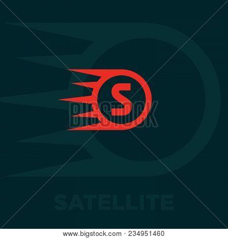Satellite Logo. Satellite Icon. Red Communication Symbol.