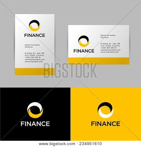 Bank Investment Or Finance Logo And Identity. Yellow And Black Corporate Identity To A Bank Or Finan