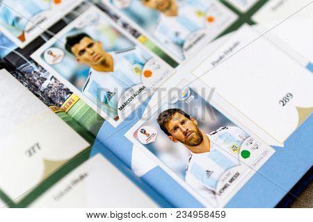 SAO PAULO, BRAZIL - CIRCA MARCH 2018: Panini FIFA World Cup Russia 2018 Official Licensed Sticker Album. (Argentina Page)