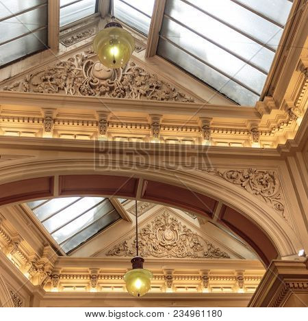 Detail Of The Plaster Work On The Ceiling Of The Block Arcade, In Melbourne, Victoria, Australia