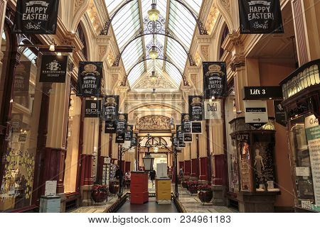 Melbourne, Australia - March 15, 2018:  View Of The Most Beautiful And Elegant The Block Arcade, In