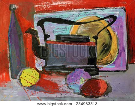 Still Life Gouache Color Painting The Kettle Fruits
